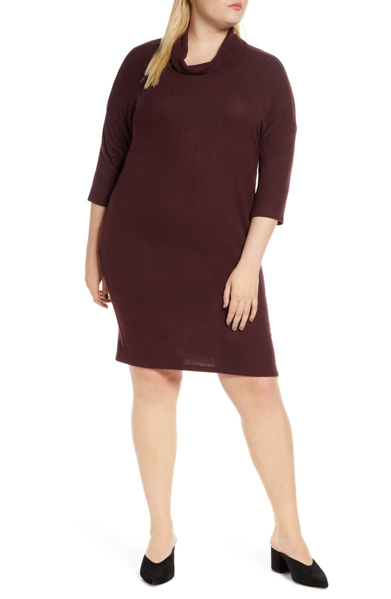 BOBEAU Cozy Cowl Neck Sweater Dress, Main, color, BURGUNDY