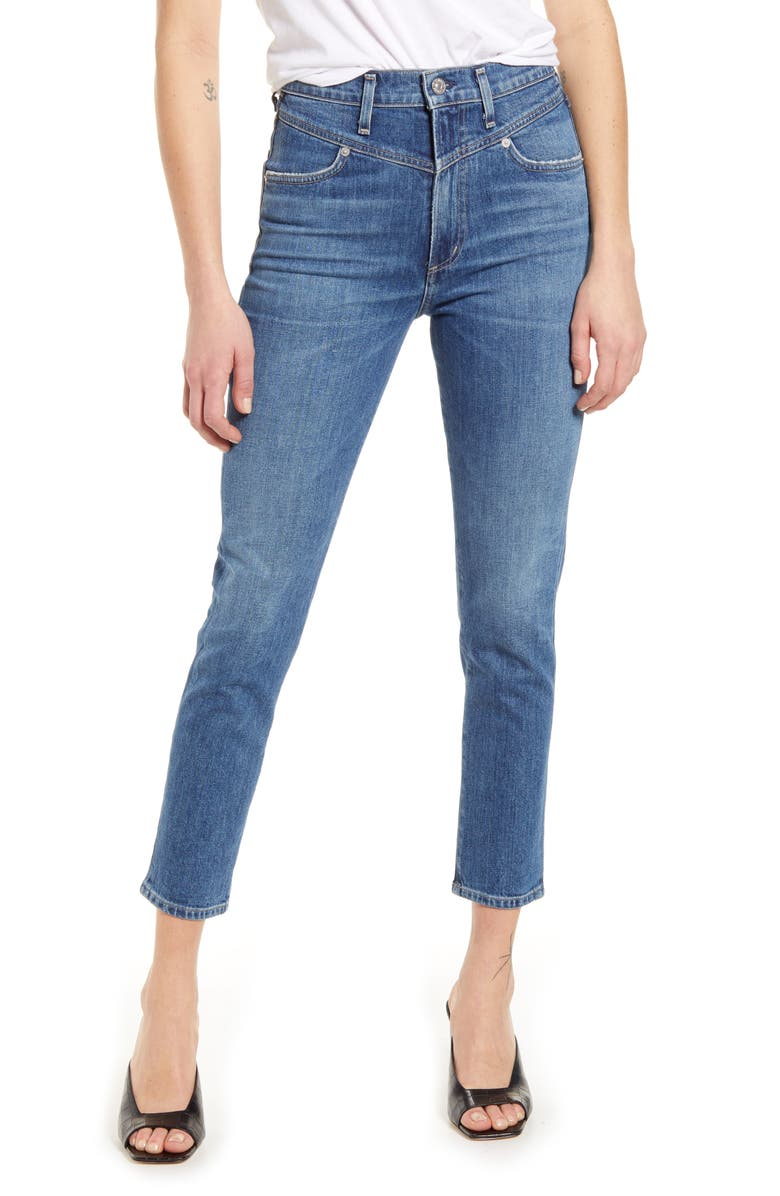 CITIZENS OF HUMANITY Mia Front Yoke High Waist Ankle Slim Jeans, Main, color, LOVE SONG