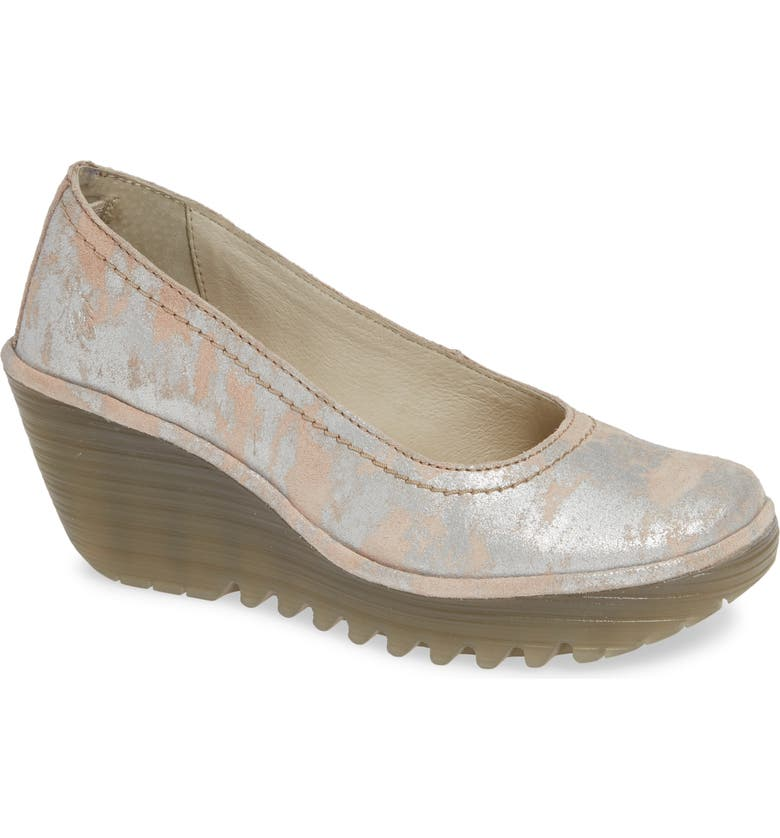 FLY LONDON Yoni Wedge Pump, Main, color, ROSE LEATHER
