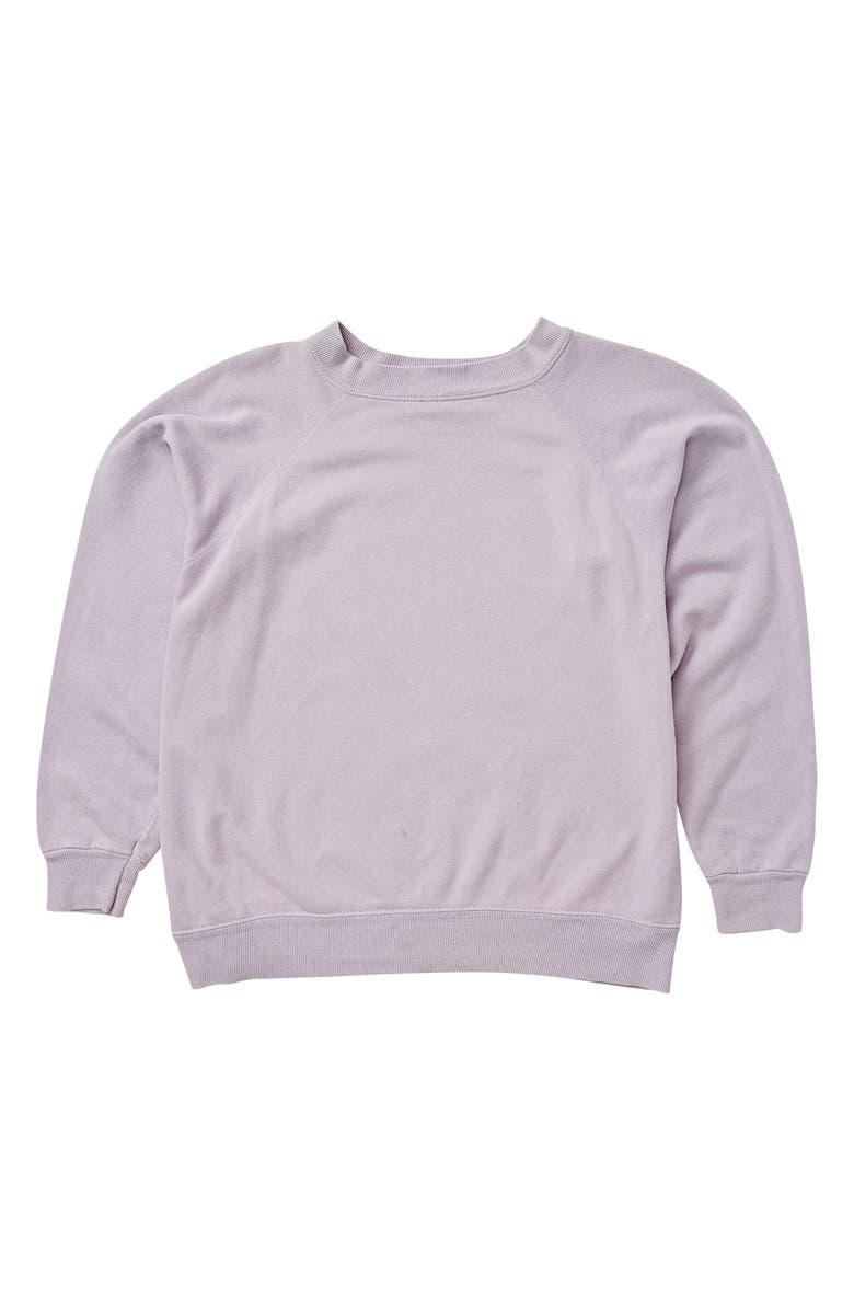 BILLABONG Stay Wild Cotton Blend Crewneck Sweatshirt, Main, color, PALE LILAC