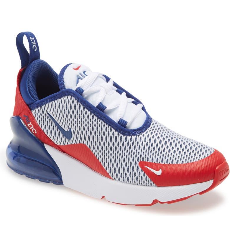 NIKE Air Max 270 Sneaker, Main, color, WHITE/ ROYAL-UNIVERSITY RED