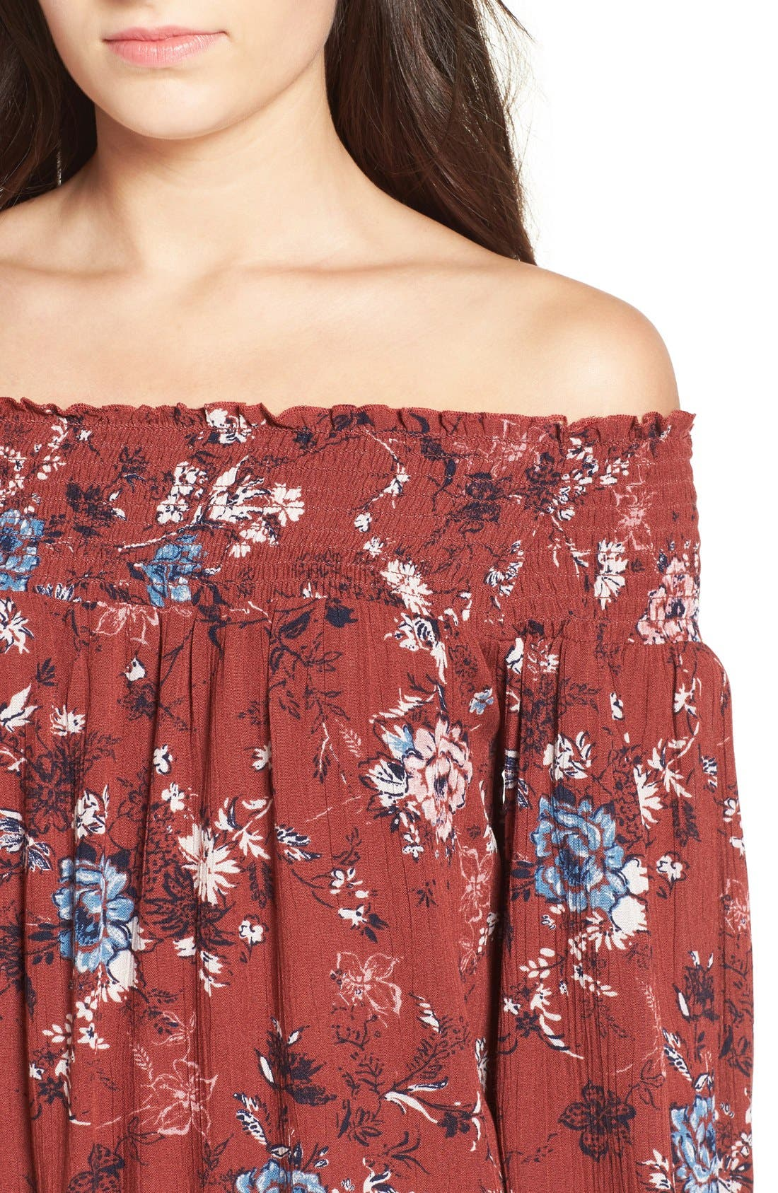 ,                             Floral Print Off the Shoulder Shift Dress,                             Alternate thumbnail 8, color,                             200