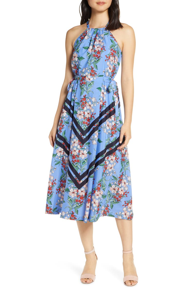 VINCE CAMUTO Halter Neck Fit & Flare Midi Dress, Main, color, 409