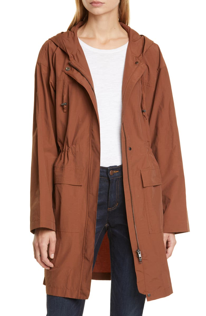 EILEEN FISHER Hooded Long Organic Cotton Blend Jacket, Main, color, NUTMEG