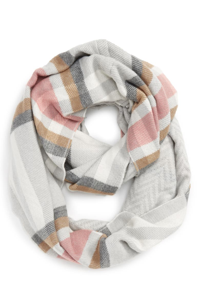 BP. Reversible Plaid Infinity Scarf, Main, color, 020