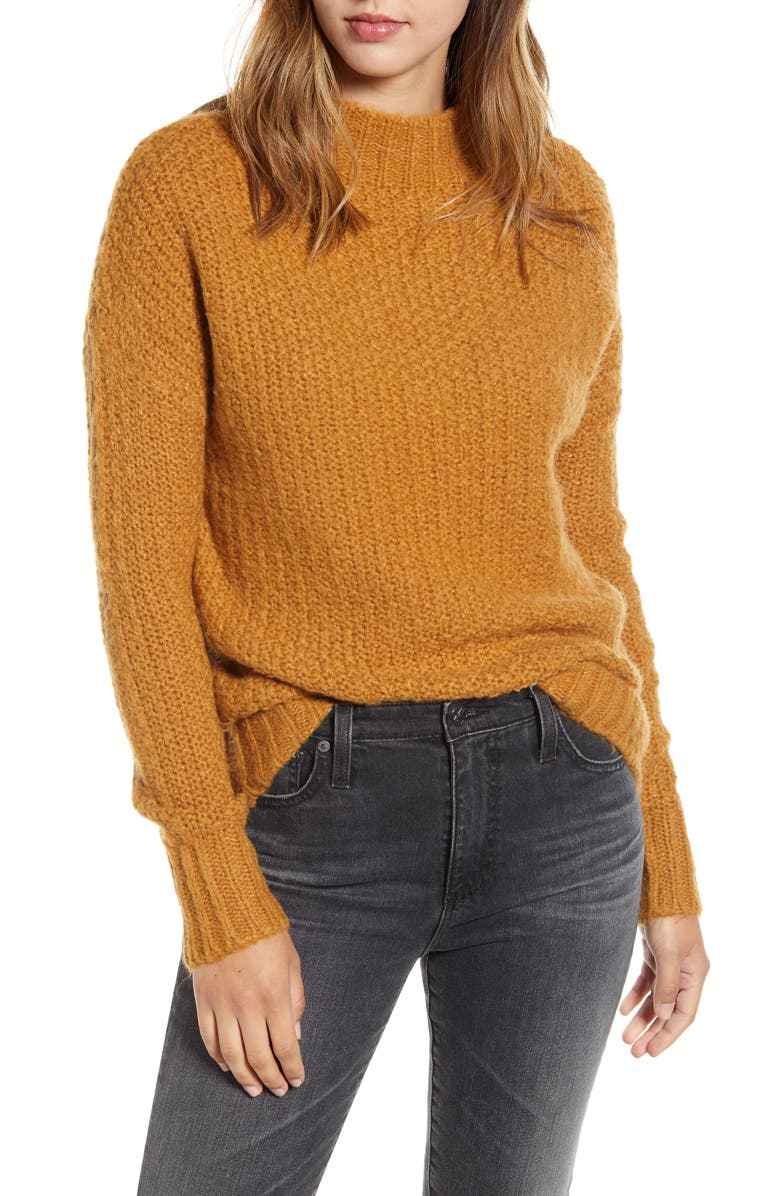 CASLON<SUP>®</SUP> Chunky Knit Sweater, Main, color, BROWN CATTAIL