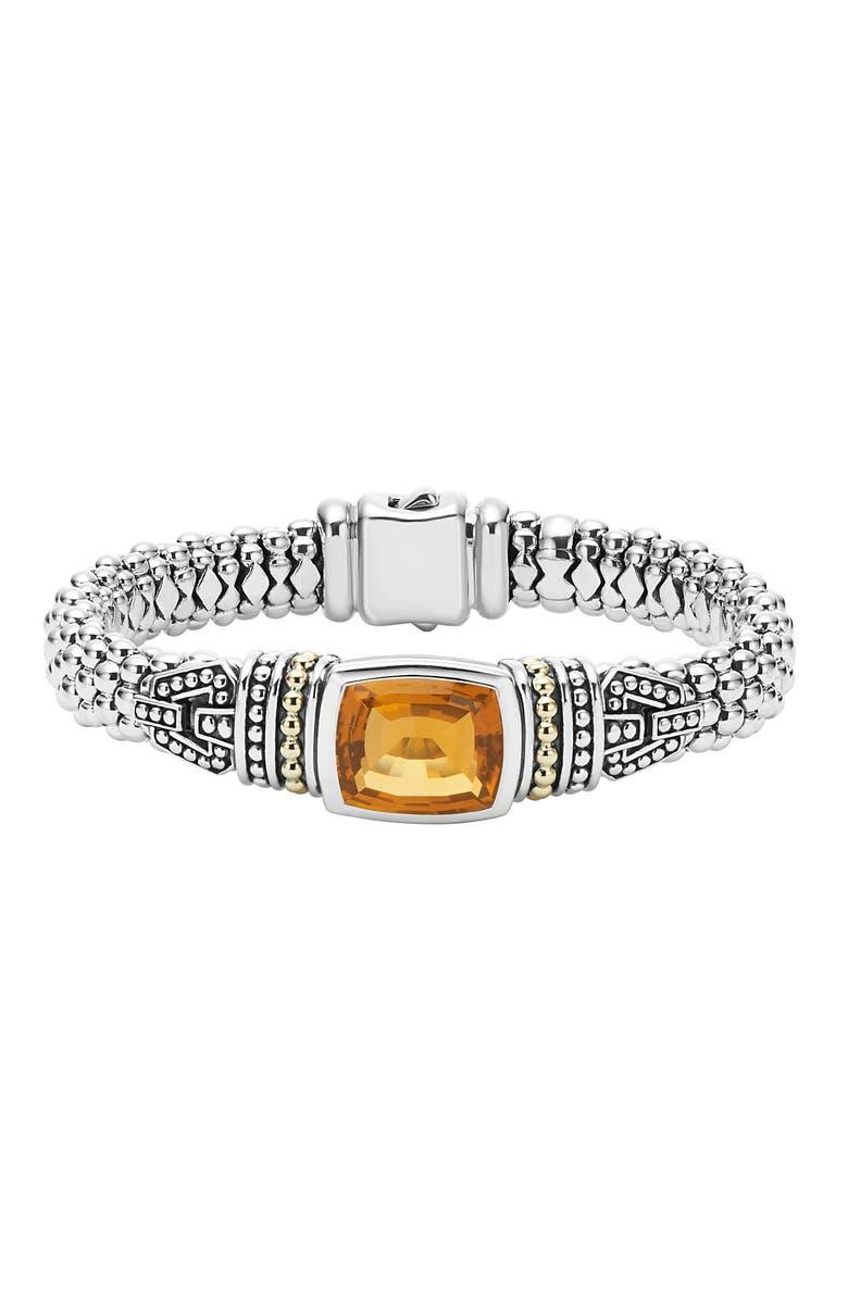 LAGOS 'Caviar Color' Semiprecious Stone Bracelet, Main, color, CITRINE