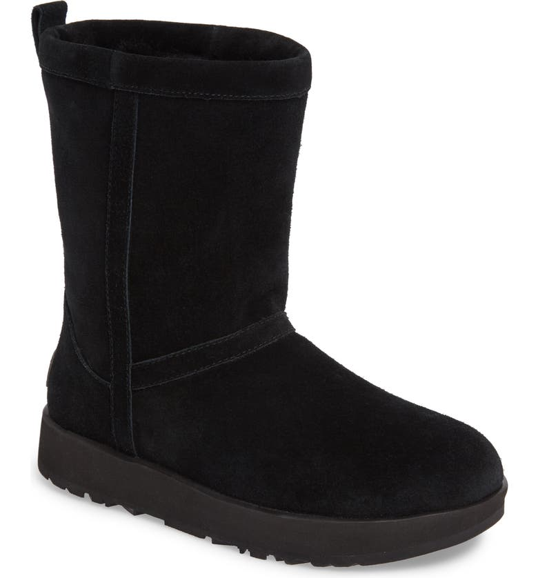 UGG<SUP>®</SUP> Classic Short Waterproof Boot, Main, color, BLACK SUEDE