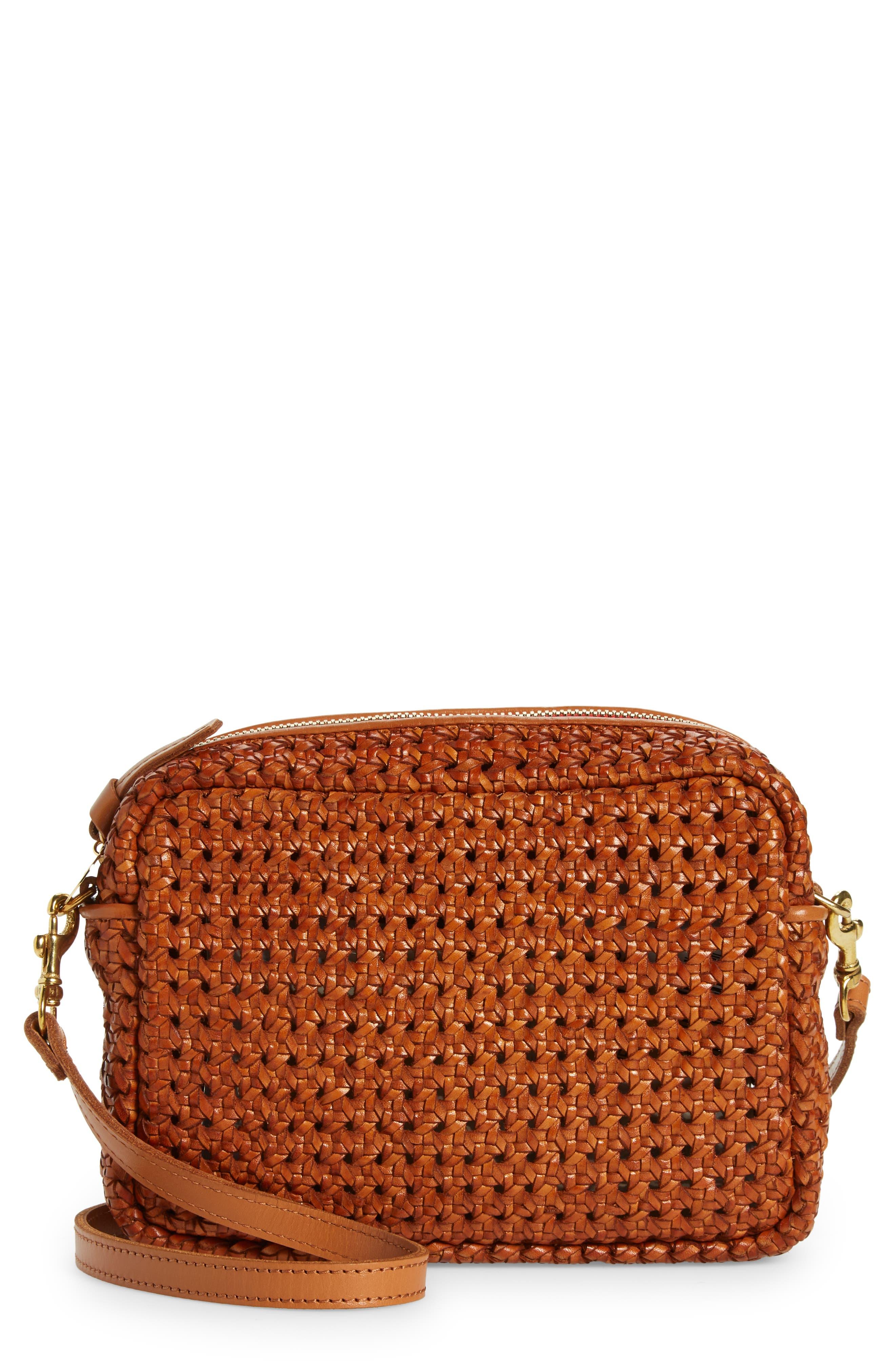 Midi Sac Woven Leather Crossbody Bag