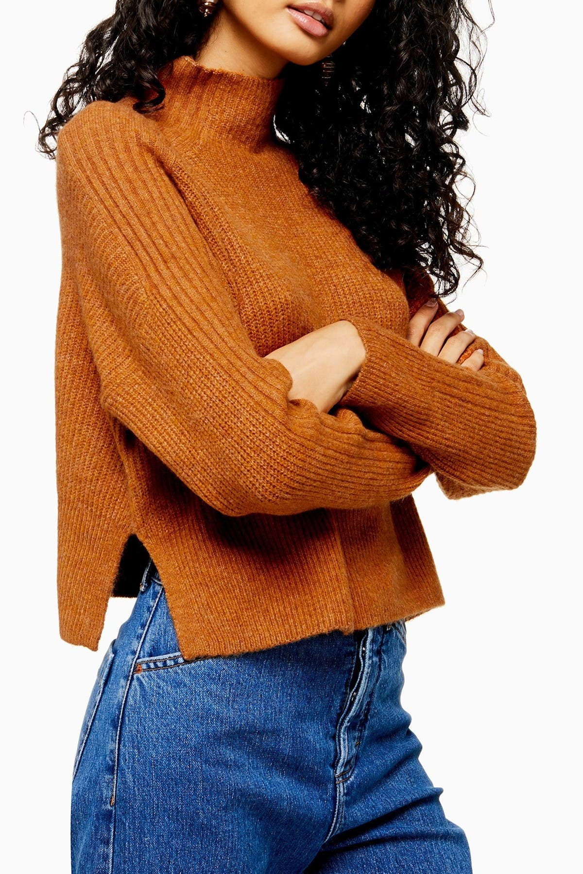 Image of TOPSHOP Crop Funnel Neck Sweater