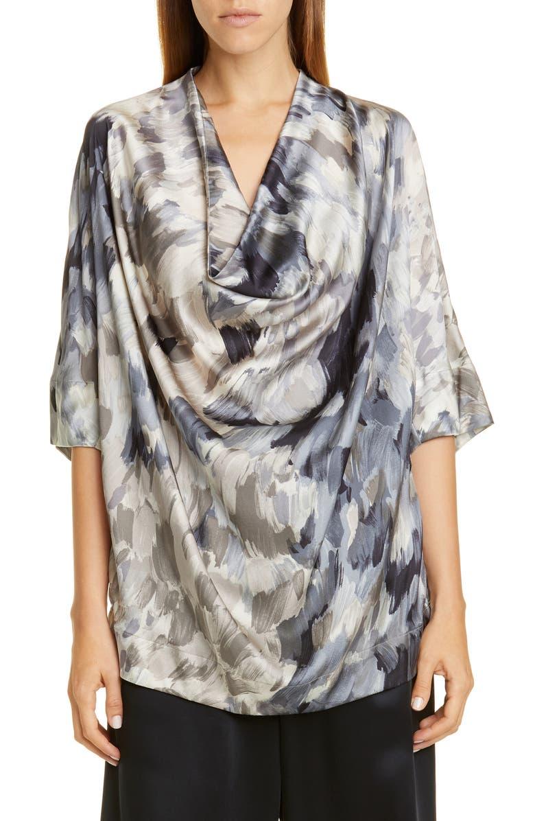 CO Cowl Neck Silk Blouse, Main, color, GREY