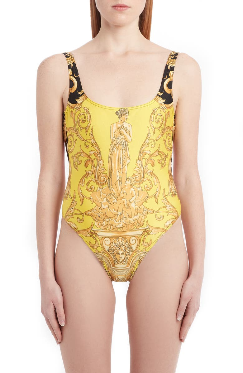 VERSACE Barco Print Bicolor One-Piece Swimsuit, Main, color, YELLOW