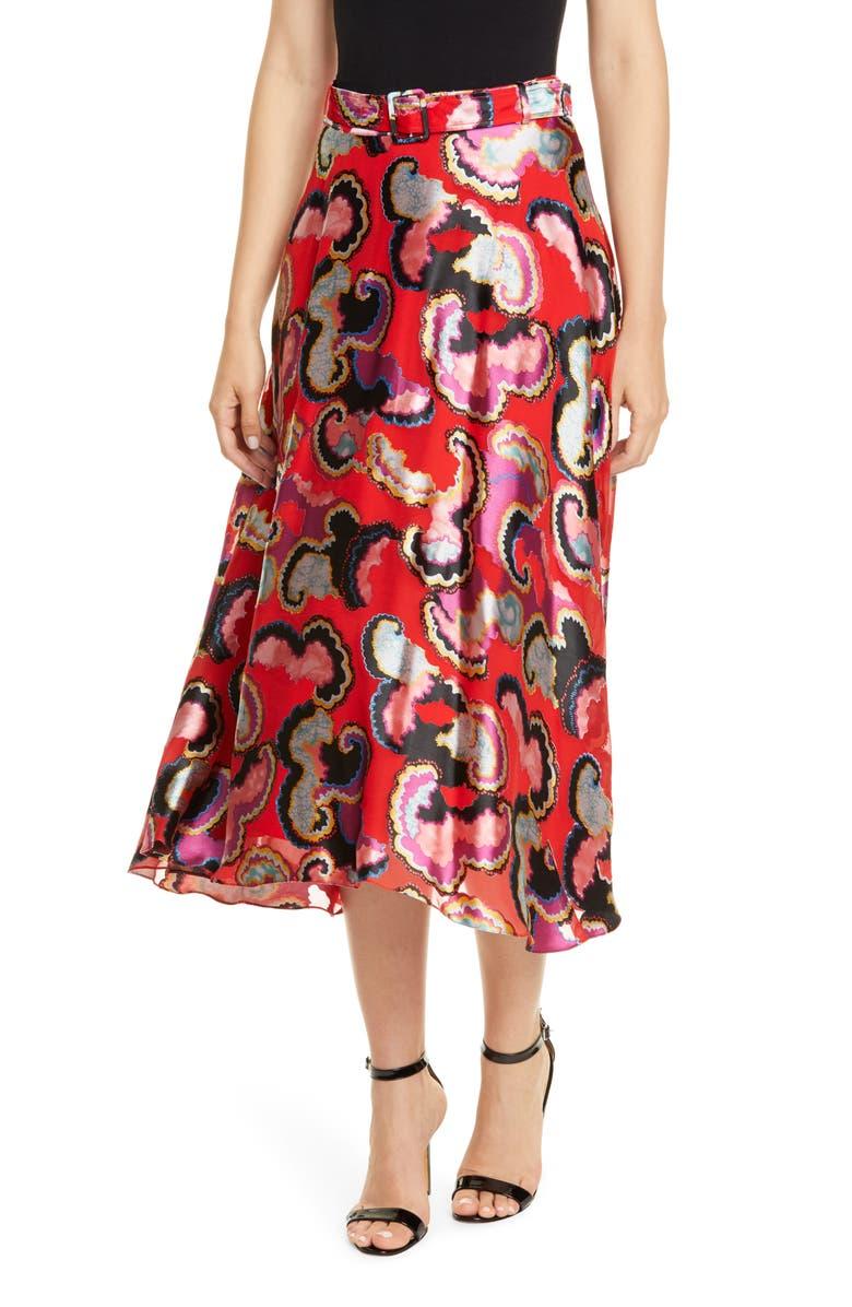 SALONI Judith Fil Coupé Midi Skirt, Main, color, CORAL DAYBREAK