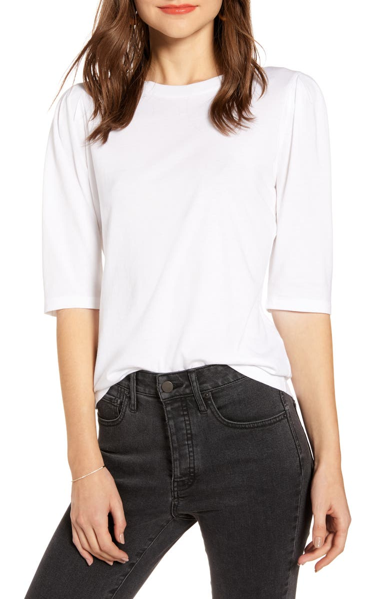 SOMETHING NAVY Puff Sleeve Tee, Main, color, WHITE