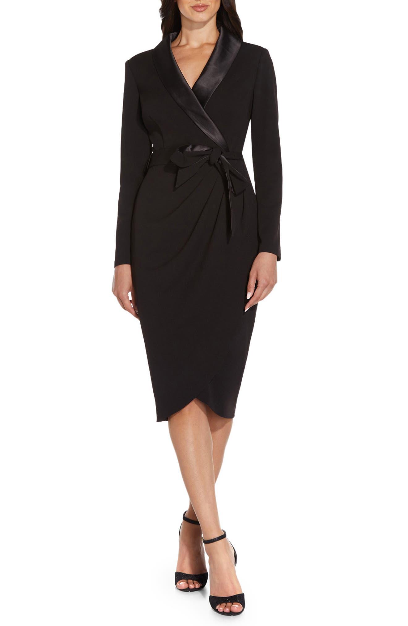 Long Sleeve Crepe Tuxedo Dress