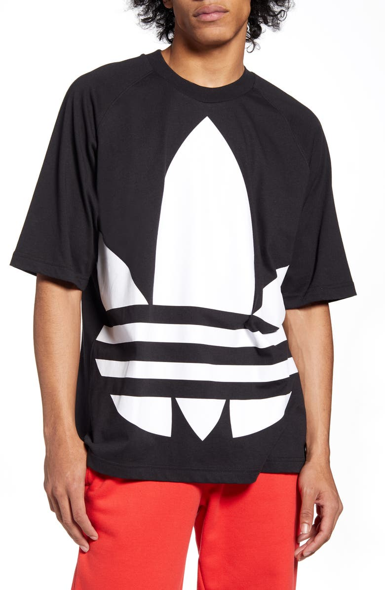ADIDAS ORIGINALS Big Trefoil Crewneck T-Shirt, Main, color, 001