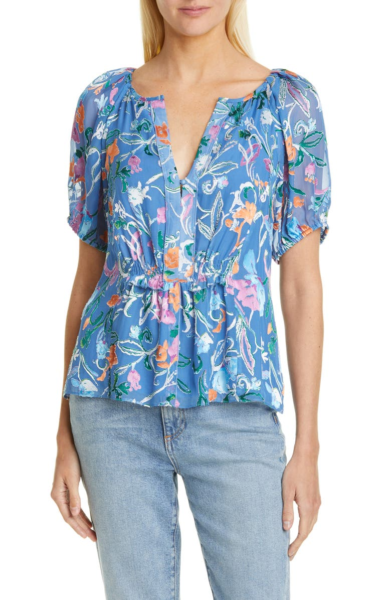 TANYA TAYLOR Mariah Floral Puff Sleeve Blouse, Main, color, SCROLLY FLORAL BLUE