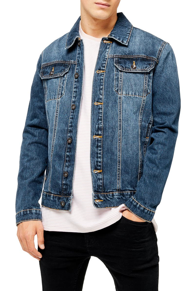 TOPMAN Core Classic Fit Denim Trucker Jacket, Main, color, DARK BLUE