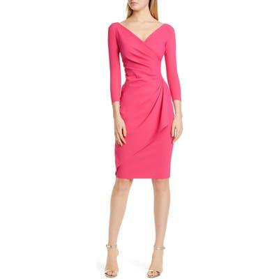 Chiara Boni La Petite Robe Charisse Ruched Long Sleeve Cocktail Dress