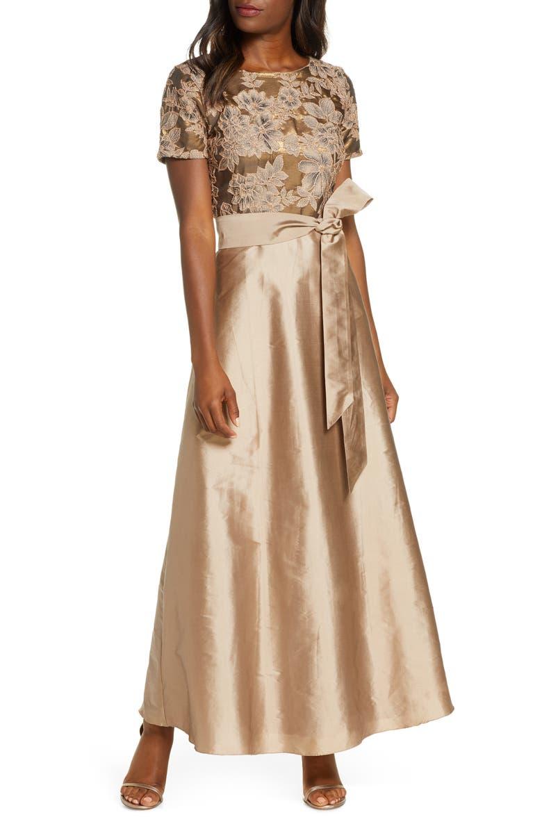 PISARRO NIGHTS Beaded Taffeta Gown, Main, color, GOLD