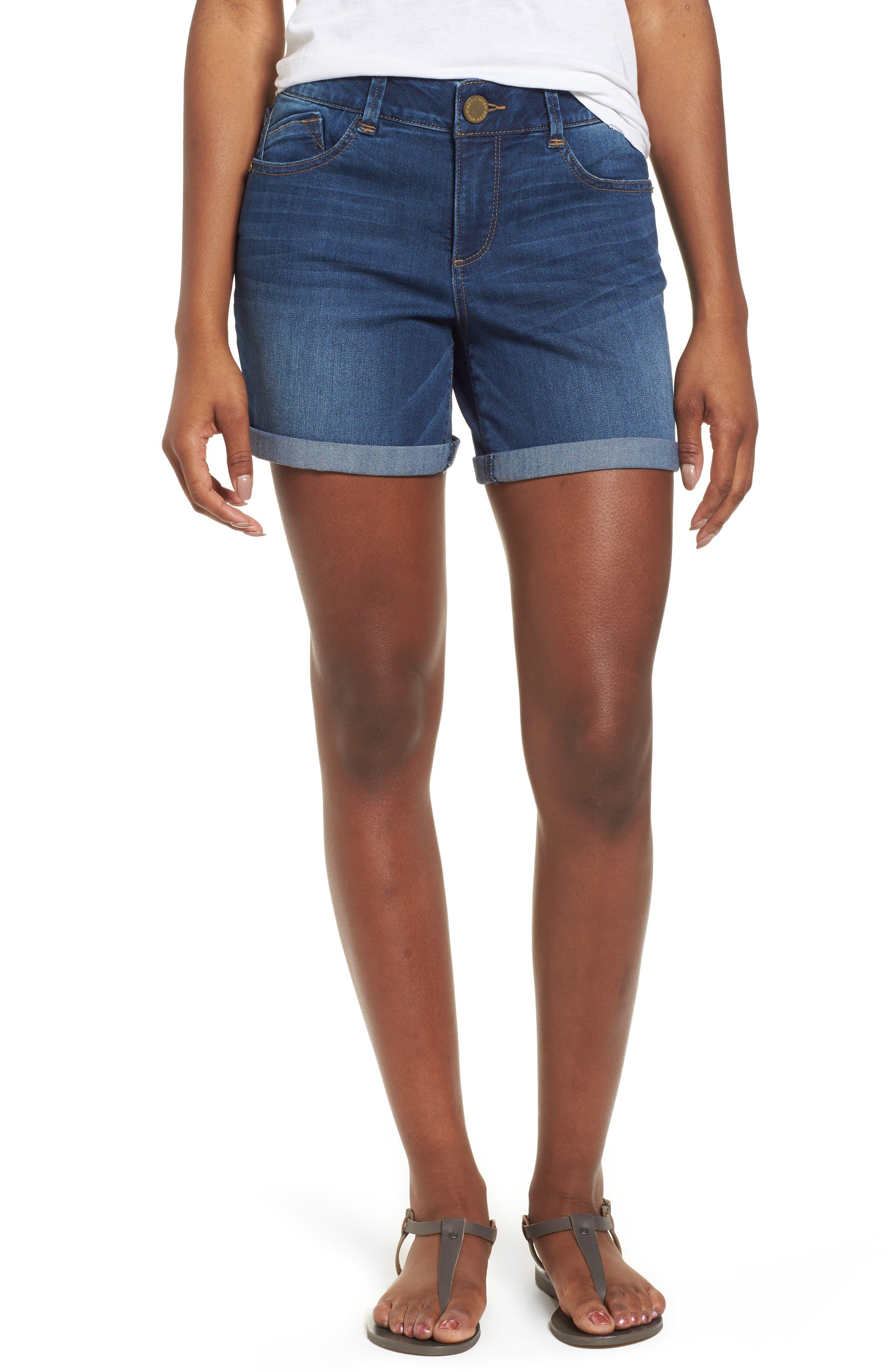 ,                             Ab-solution Cuffed Denim Shorts,                             Main thumbnail 1, color,                             BLUE