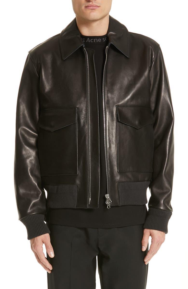 ACNE STUDIOS Lazlo Leather Bomber Jacket, Main, color, BLACK