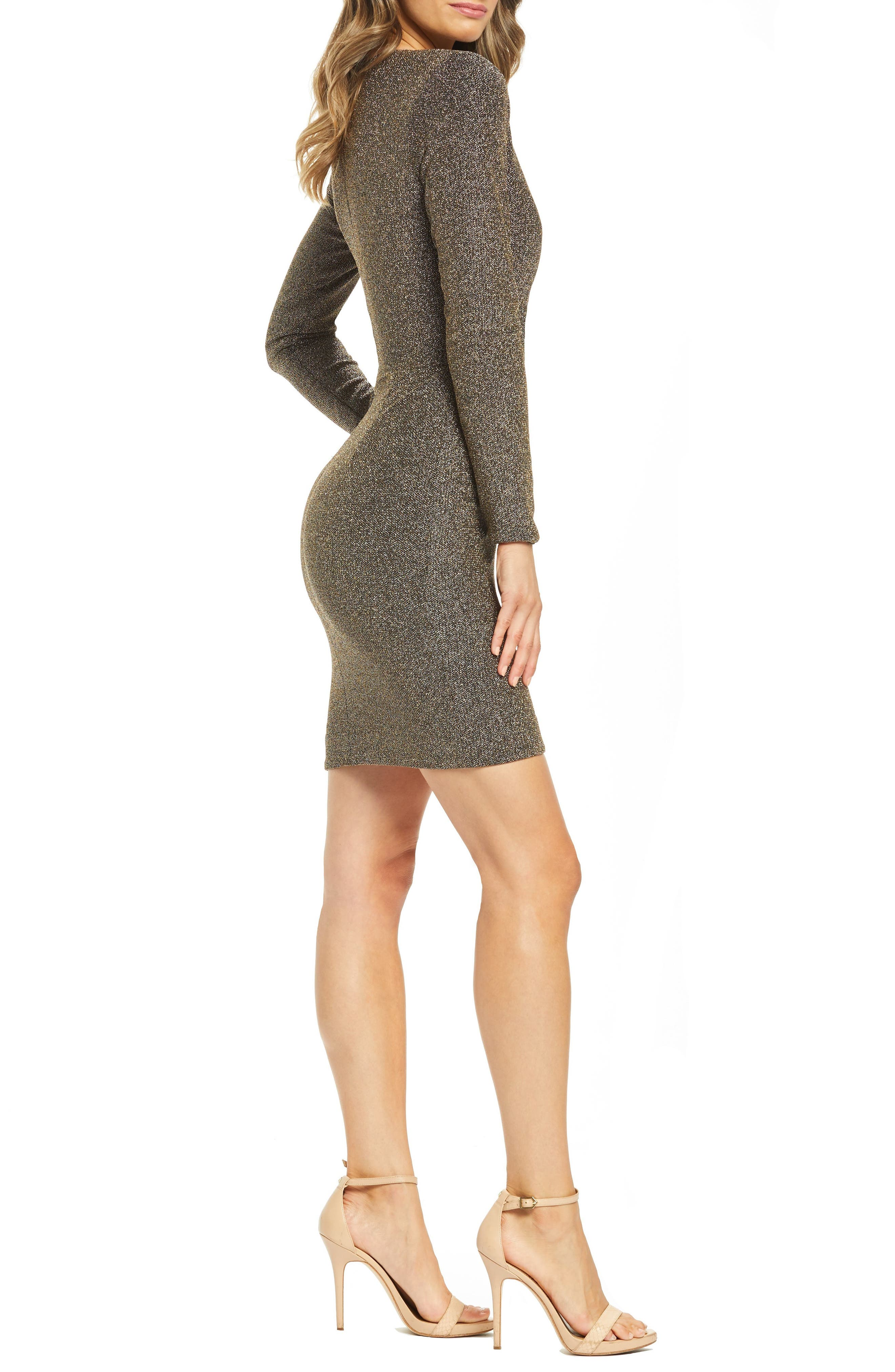,                             Riley Plunge Neck Metallic Sheath Dress,                             Alternate thumbnail 4, color,                             001