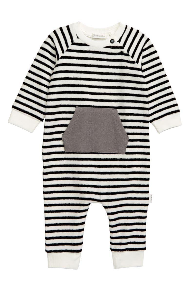 MILES BABY Stripe Romper, Main, color, 101 OFF WHITE