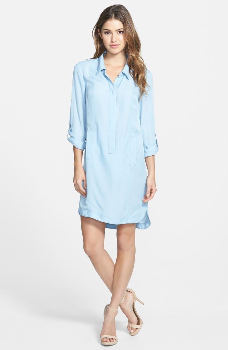 NIC+ZOE 'Blue Dawn' Chambray Tunic Shirtdress, Main, color, 473