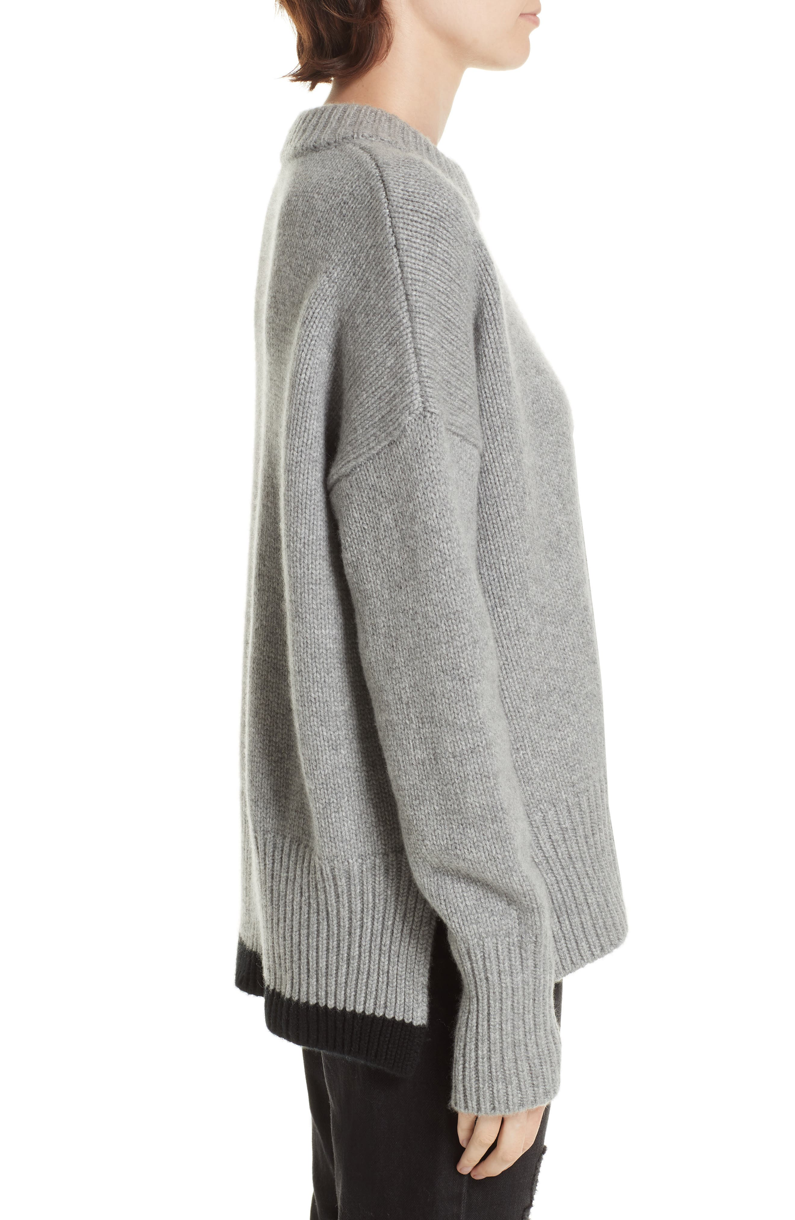 ,                             Varsity Cashmere Sweater,                             Alternate thumbnail 3, color,                             GREY MARLE/ BLACK