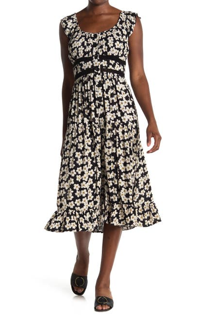 Image of Angie Floral Button Front Ruffled Midi Dress