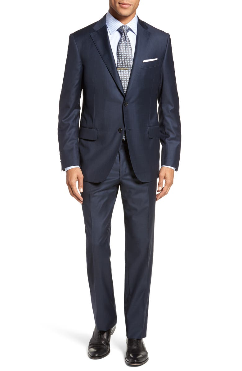 HICKEY FREEMAN Modern H Fit Solid Loro Piana Wool Suit, Main, color, NAVY SHARKSKIN