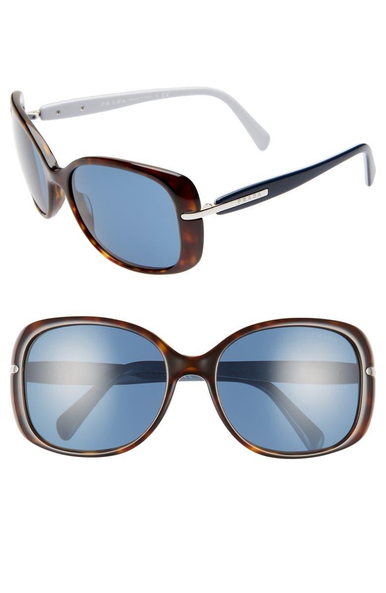 PRADA Heritage 57mm Rectangle Sunglasses, Main, color, 213