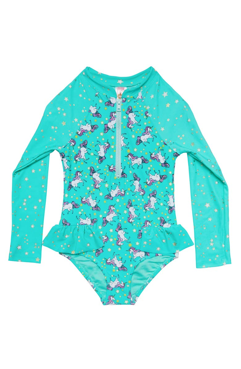 HULA STAR Stardust Dream One-Piece Rashguard Swimsuit, Main, color, MERMAID BLUE