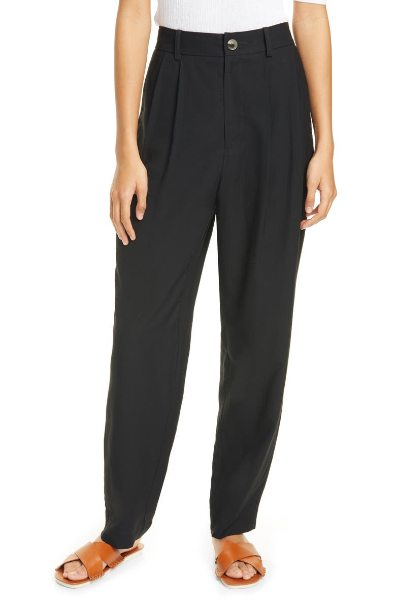 VINCE Pleated Ankle Trousers, Main, color, BLACK