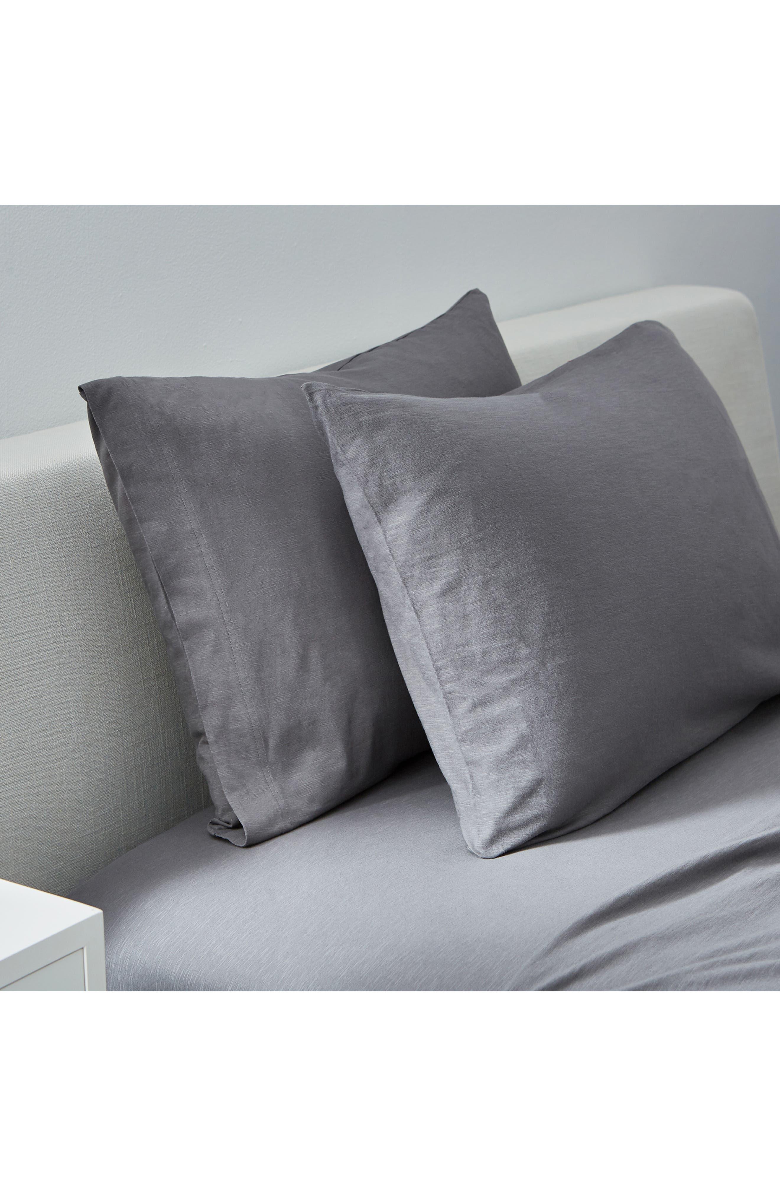 ,                             Set of 2 Slub Jersey Pillowcases,                             Main thumbnail 1, color,                             CHARCOAL
