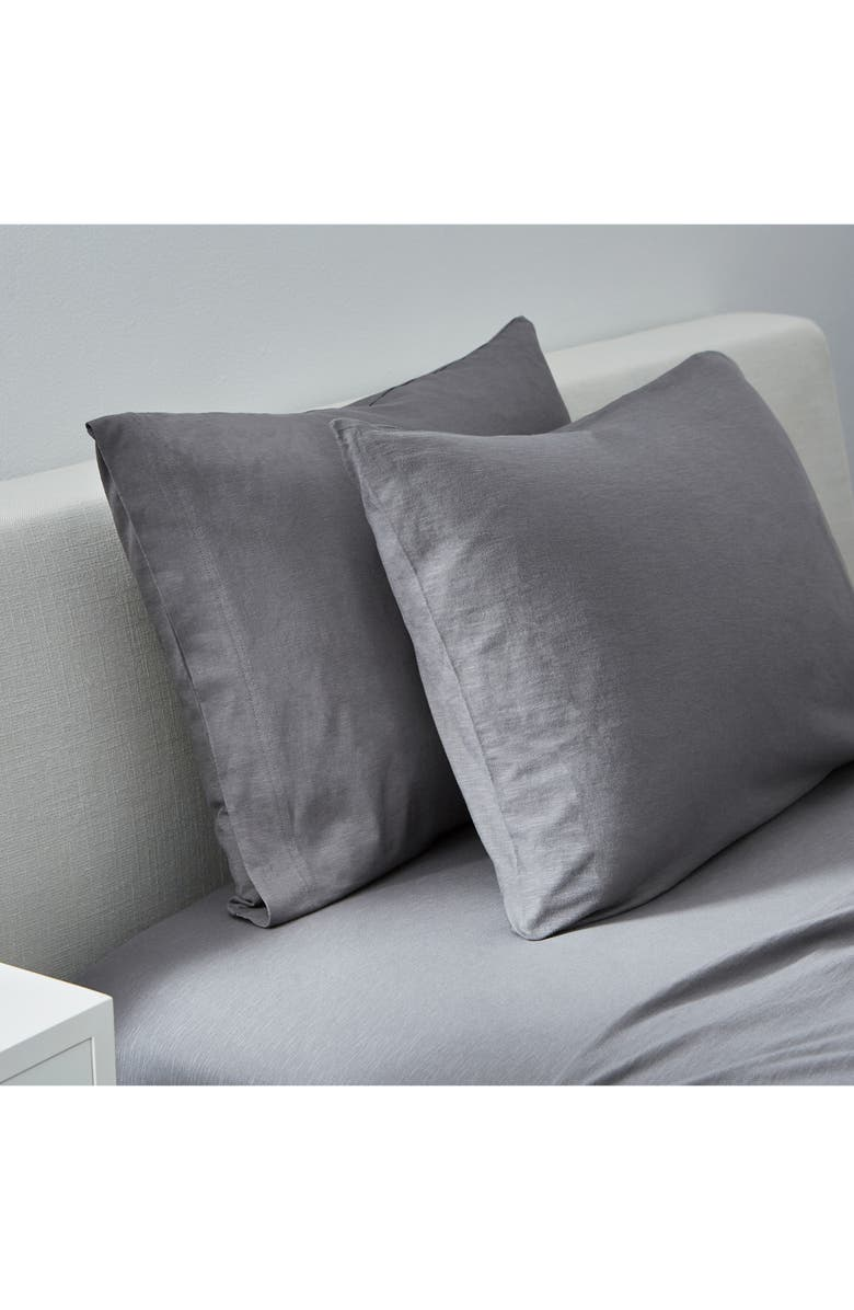 SPLENDID HOME DECOR Set of 2 Slub Jersey Pillowcases, Main, color, CHARCOAL