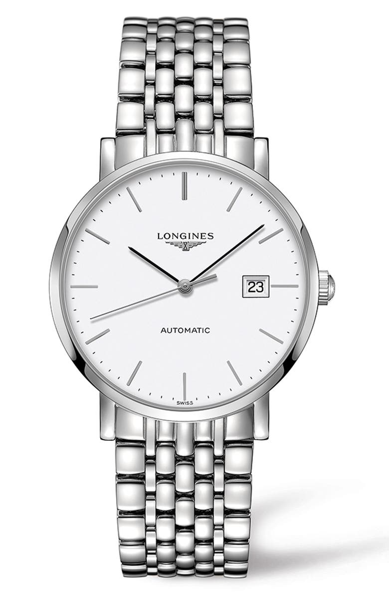 LONGINES Elegant Automatic Bracelet Watch, 39mm, Main, color, SILVER/ WHITE/ SILVER