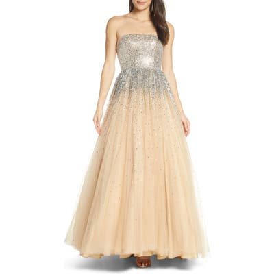 MAC Duggal Bejeweled Strapless Tulle Evening Dress, Beige
