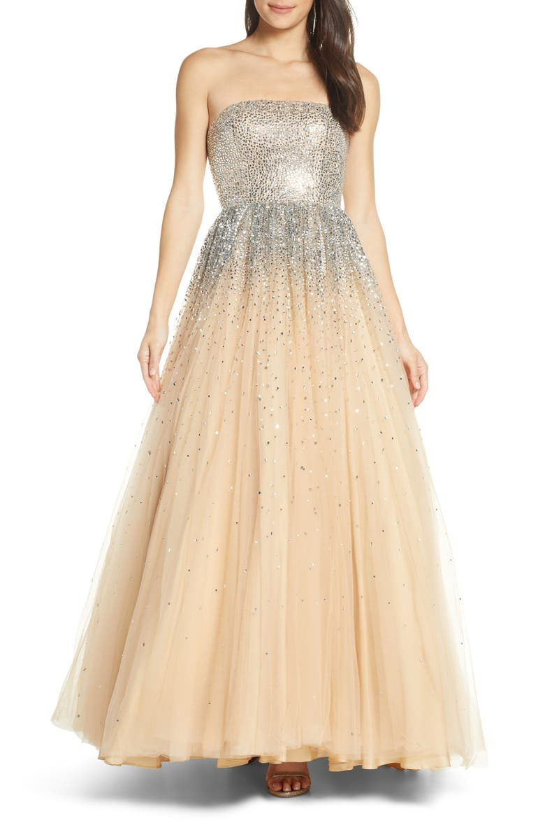 MAC DUGGAL Bejeweled Strapless Tulle Evening Dress, Main, color, NUDE