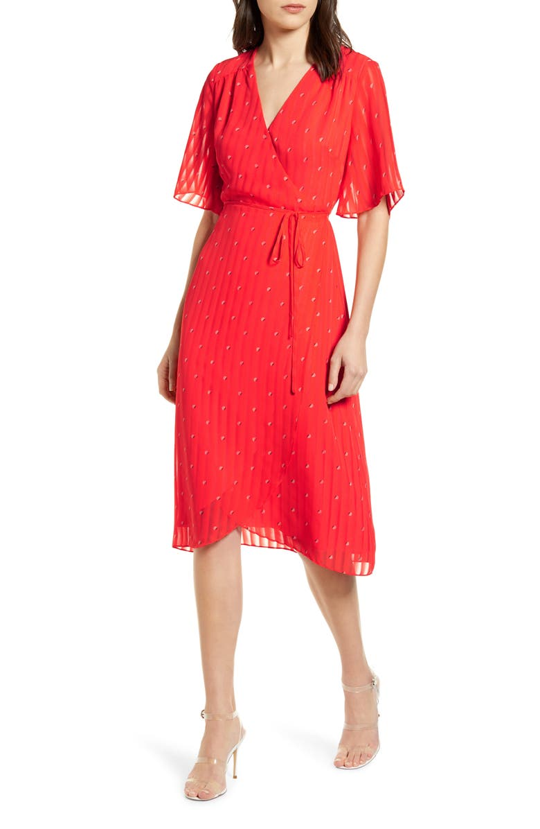 CUPCAKES AND CASHMERE Muholland Wrap Dress, Main, color, HOT CORAL