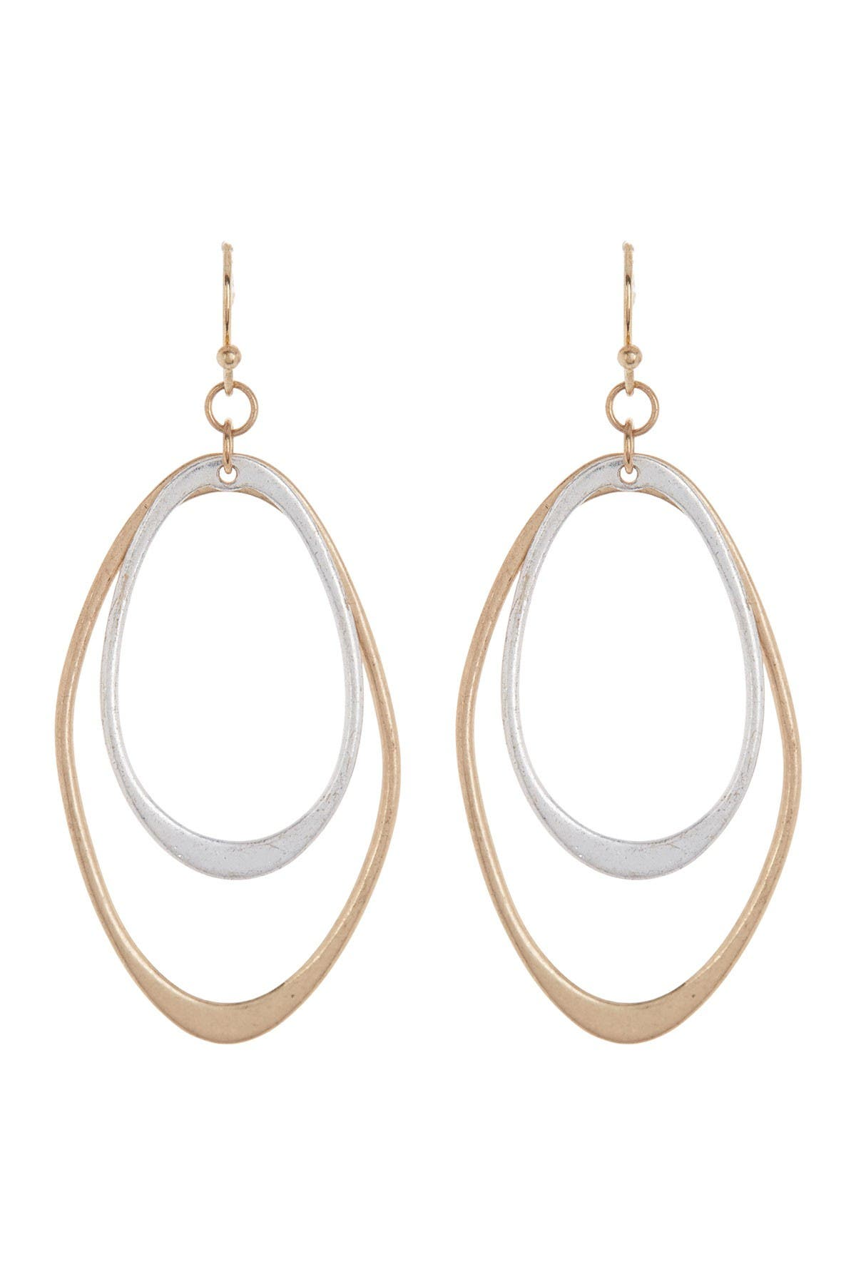 Image of AREA STARS Two Tone Double Oval Earrings
