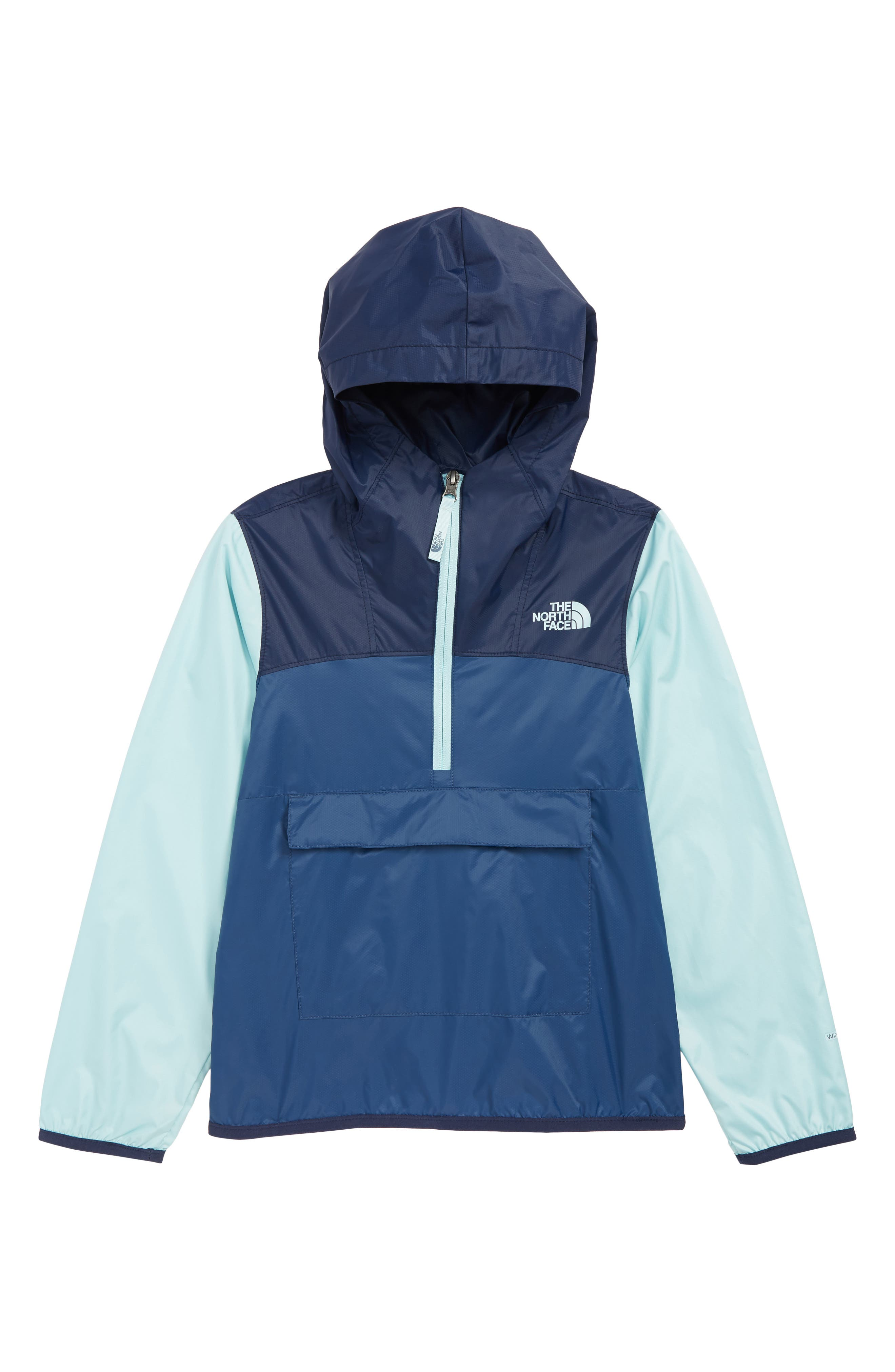 Boys The North Face Fanorak Water Repellent Hooded Windbreaker Size S (78)  Blue