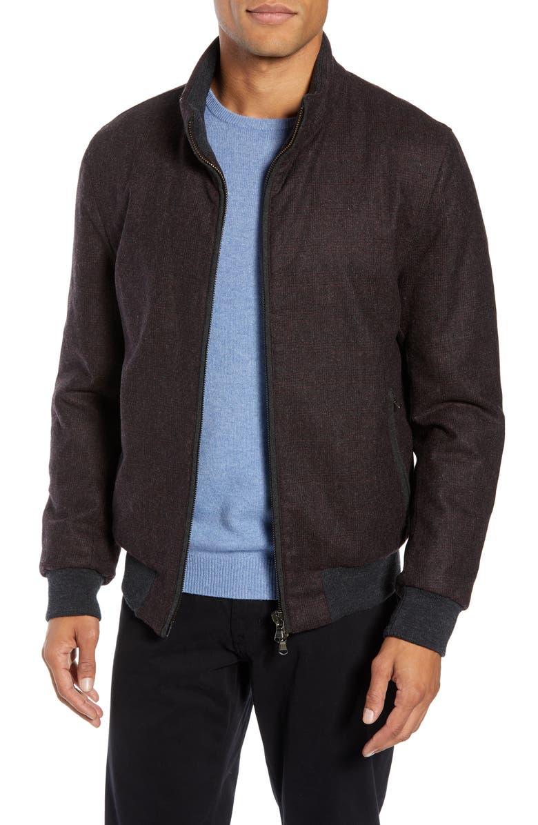 ZACHARY PRELL Palmer Wool Blend Bomber Jacket, Main, color, BURGUNDY