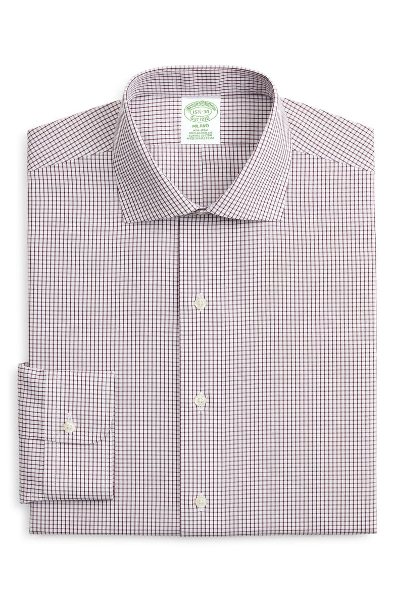 BROOKS BROTHERS Milano Trim Fit Non-Iron Check Dress Shirt, Main, color, WPFIG