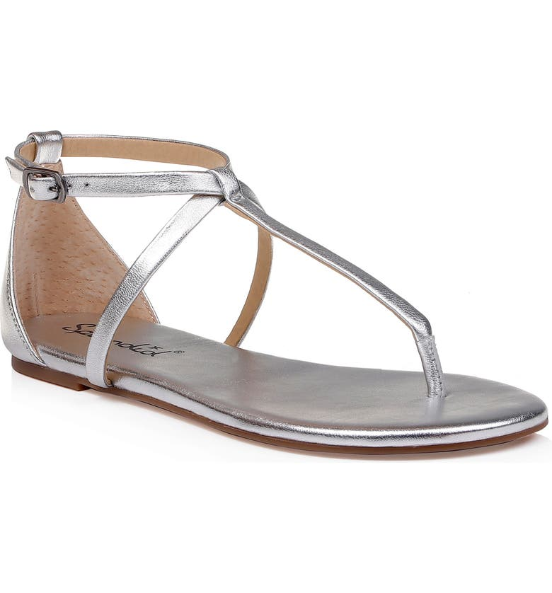 SPLENDID Sundae T-Strap Sandal, Main, color, SILVER LEATHER