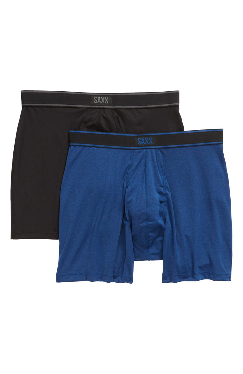 SAXX Daytripper 2-Pack Boxer Briefs, Main, color, BLACK/ CITY BLUE HEATHER