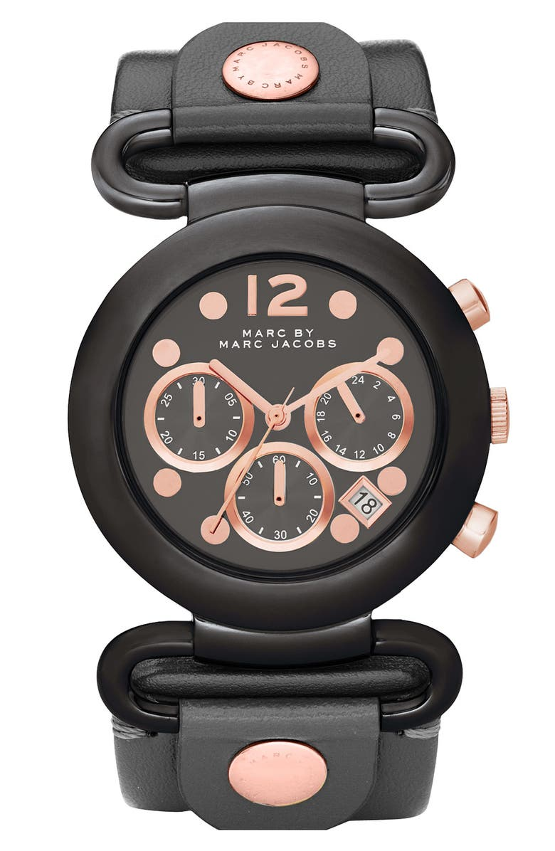 MARC BY MARC JACOBS 'Molly Chrono' Leather Strap Watch, Main, color, 001