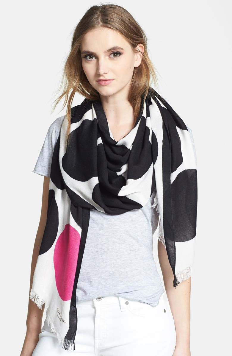 KATE SPADE NEW YORK 'six month dot' scarf, Main, color, 001