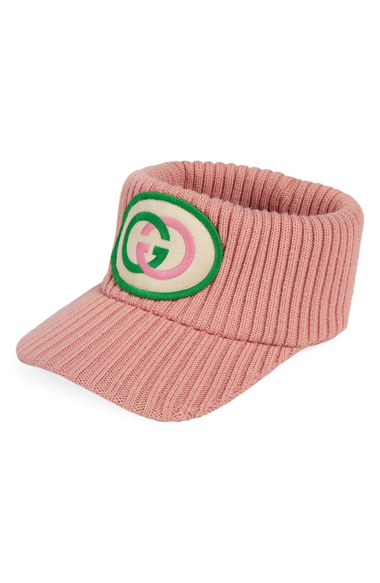 GUCCI Filly Logo Patch Rib Stretch Wool Visor, Main, color, PINK